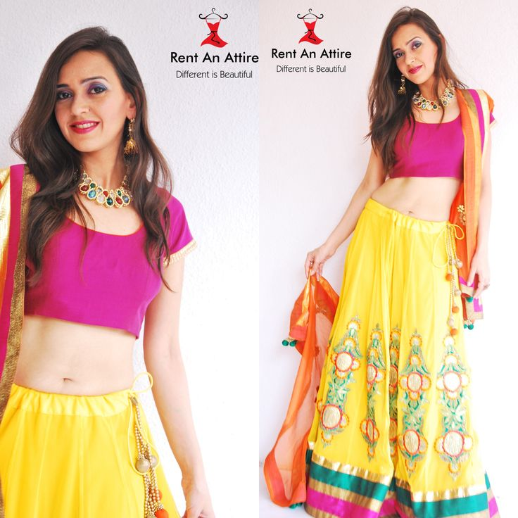 Give yourself the ultimate traditional look by wearing this Fabulous Yellow Net Lehenga with a contrast pink choli and a contrast orange net dupatta! Try it ♡ Book it ♡ Flaunt it ♡