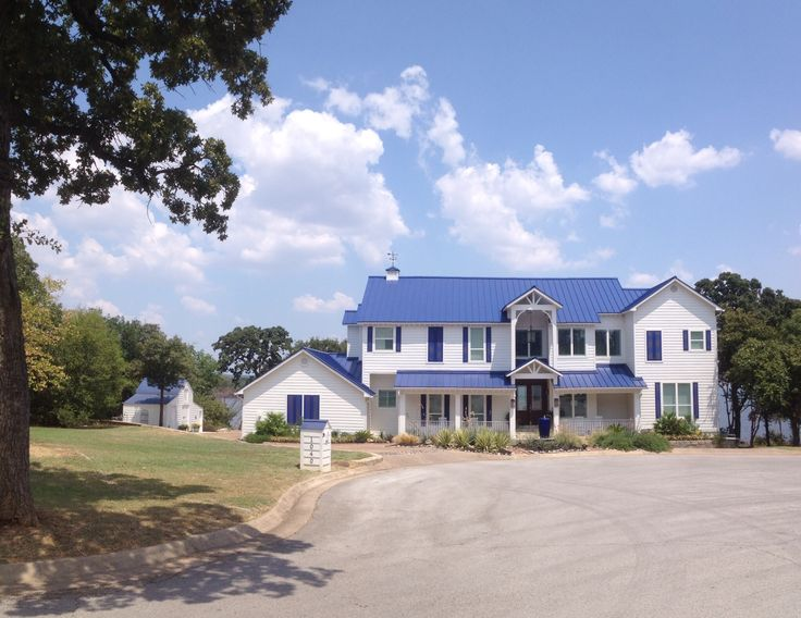 Best Dream White House Blue Shutters And Blue Tin Roof 400 x 300