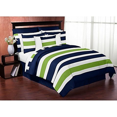 Big stripes in bold colors make the Navy and Lime Stripe Bedding Collection from Sweet Jojo Designs a fresh choice for any room. Navy, white, and bright green alternate to create a cool look for this comforter set.