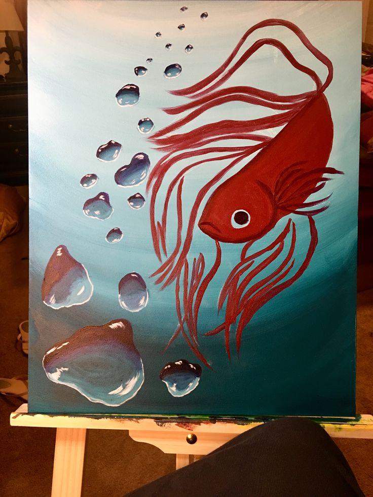 Getting the first layer of paint done on the fish ☺️ #ArtIsLife  #QueenShyArt  #Betta #BettaFish #Bubbles #water #underwater #paint #painter #Art #artislife #artistlife #artwork #artist #artistsoninstagram #sketch #sketchoftheday #sketchbook #draw #drawing #drawingoftheday #painterslife #fineart #wallart #homedecor #room #aquarium #betta #workinprogress