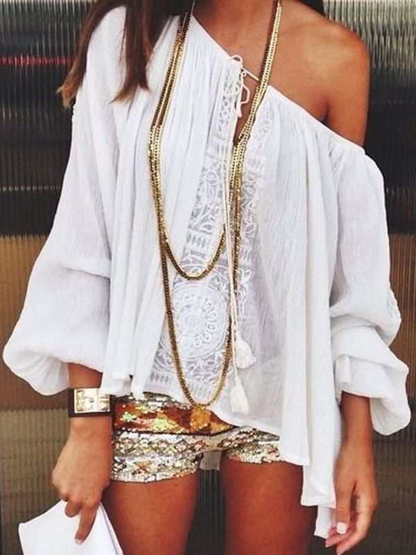 White Tie-neck Lace Loose Blouse