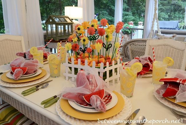 Summer Tablescape with a Carved Watermelon Centerpiece from Between Naps on the Porch blog!