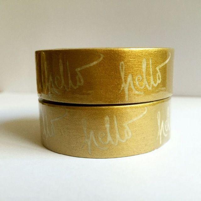 Прекрасный 15 мм * 10 м золотой бумаги васи ленты/Золотой фон Привет письмо япония васи клейкой ленты