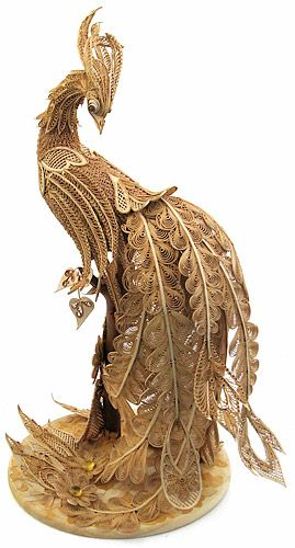 the beautiful belongings from birch bark . peacock- that prodigy from miracles, that the most fondest daydream, award, happiness, which tries to obtain each person in its lifes!