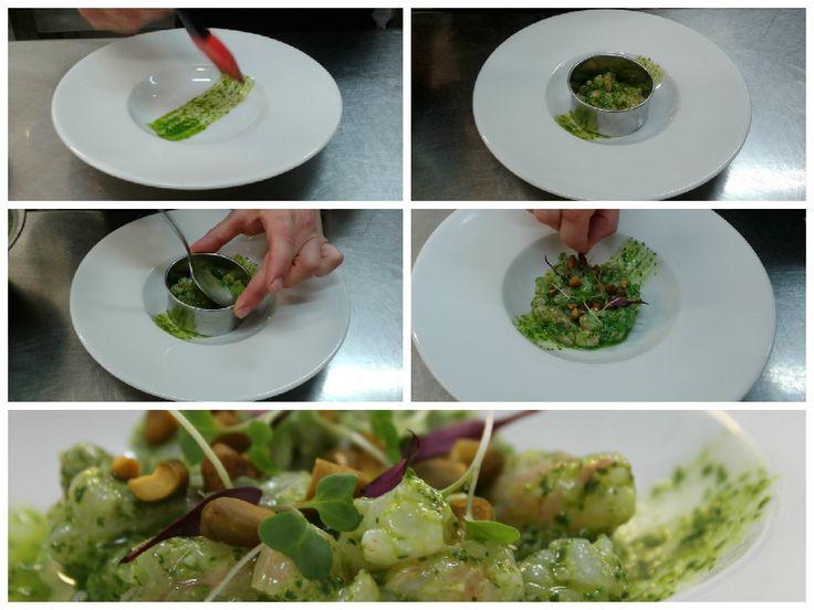 #Ceviche de #Gambas con #Pesto de #Cilantro y #Pistachos. #Restaurante #Restaurantesubmarino #Oceanografic #Ciudaddelasartesylasciencias #Valencia #Gastronomia #Creativefood #Cocinacreativa #Pasoapaso #Yummy www.restaurantesubmarino.es