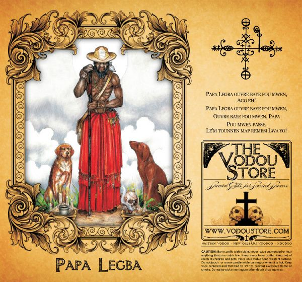 In Haitian Vodou, Papa Legba is the loa who serves as the intermediary between the loa and humanity. He stands at a spiritual doorway and gives (or denies) permission to speak with the spirits of Guinee, and is believed to speak all human languages. Associated with St. Peter. In Santeria Elegua.