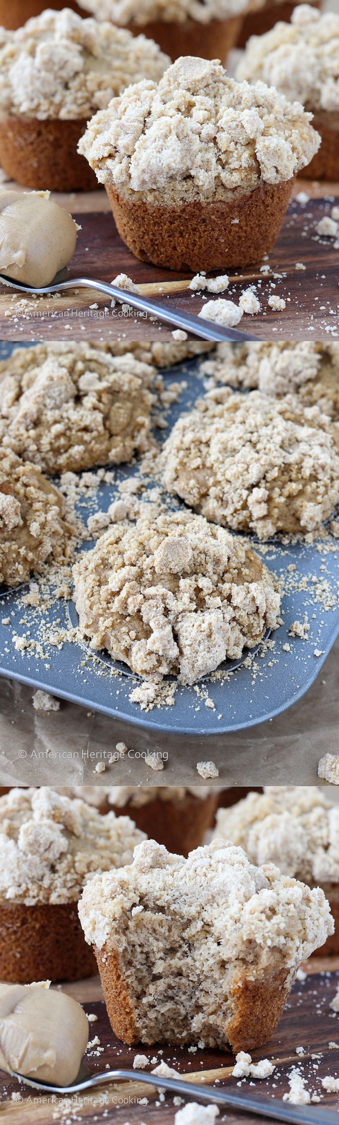 Peanut Butter Banana Muffins with Peanut Butter Streusel Topping - There is never enough streusel!! American Heritage Cooking