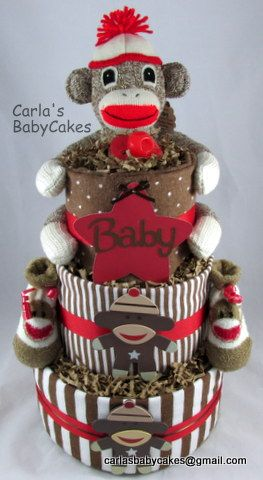 Sock Monkey Diaper Cake - Custom request baby shower cake. Feel free to inquire with your unique theme.