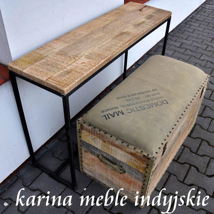 karina meble indyjskie - kolonialna loftowa konsola z litego drewno warszawa