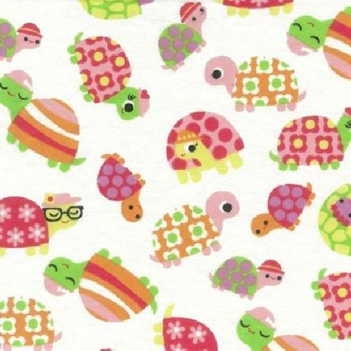 Turtles wincey flannel white Quilt fabric