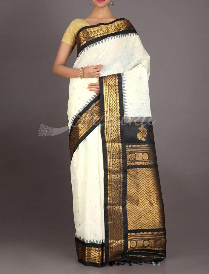 Sampada Black And White Temple Border Pure Gadwal Silk Cotton Saree
