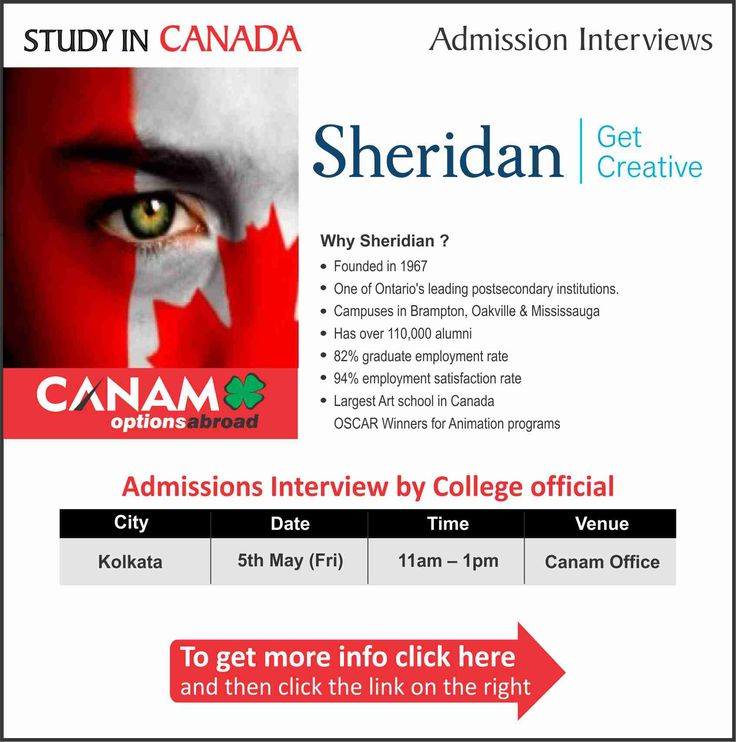 Study in #Canada - Sheridan College. For complete information & enrolment, Register Today!  #StudyAbroad #StudyinCanada #StudentVisa #StudyVisa #StudentVisaExpert #SheridanCollege #CanamConsultants
