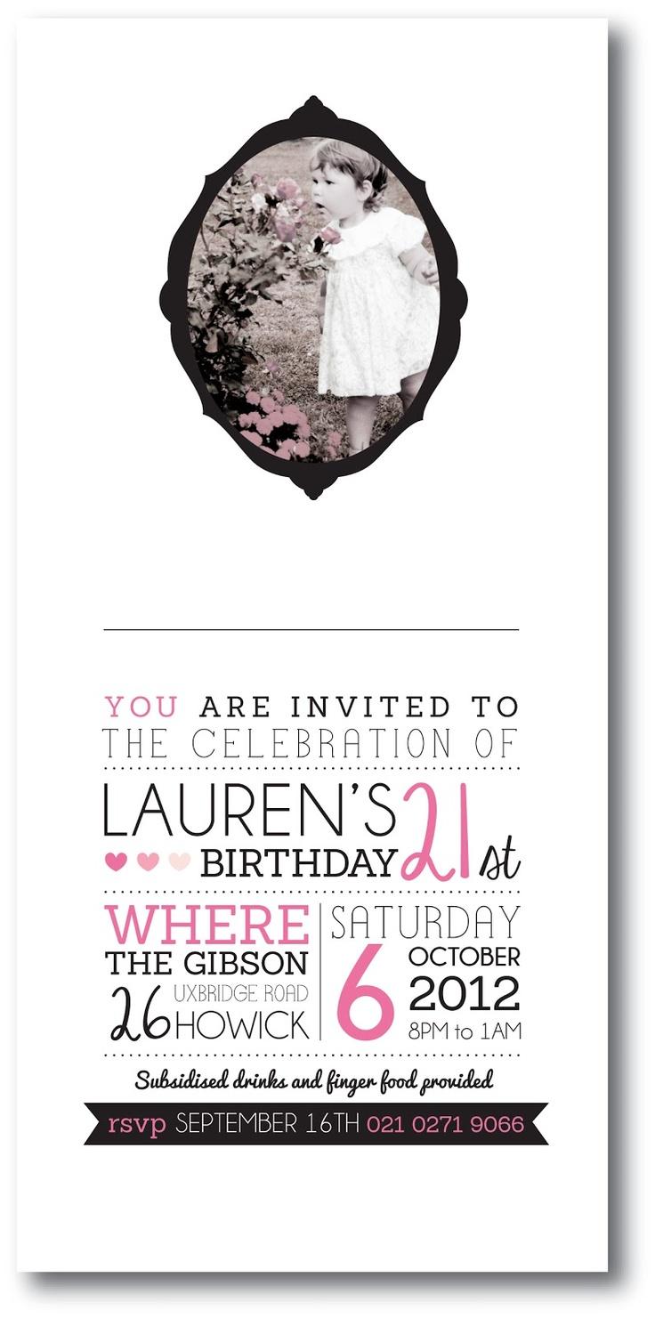 21st Invitation Design. Lovingly, Kate