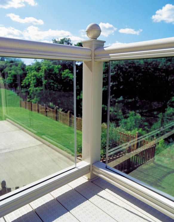 Glass deck railing deck design pinterest for Balcony glass railing designs pictures