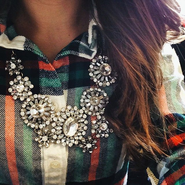 flannels + statement necklace                                                                                                                                                                                 More