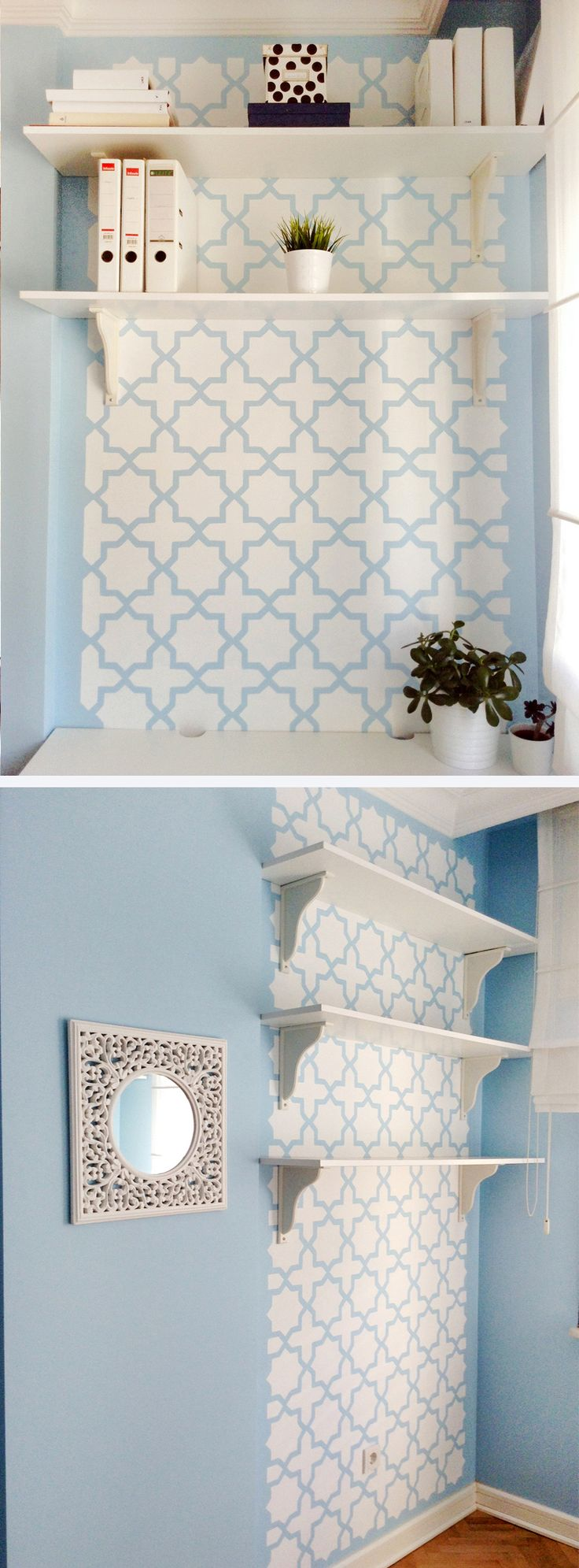 94 best wall stencils images on pinterest wall stenciling moroccan wall stencil with scandinavain colors so fresh little office space amipublicfo Image collections