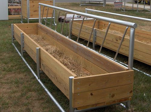 Combination hay and feed fence line bunk feeder is designed to hold hay and feed. The stanchion bars are welded 14″ apart to limit head movement, thus saving hay. The main frame is welded into a solid unit from heavy wall 2 1/2″ O.D. steel pipe along with 2″ x 8″ grade #1 treated lumber bolted on. The feeder measures 50″ from the ground to the top. Measures 25″ to the top of the side board.  Available in: 8′ / 12′ / 16′ lengths x 35″ wide x 16″ deep.