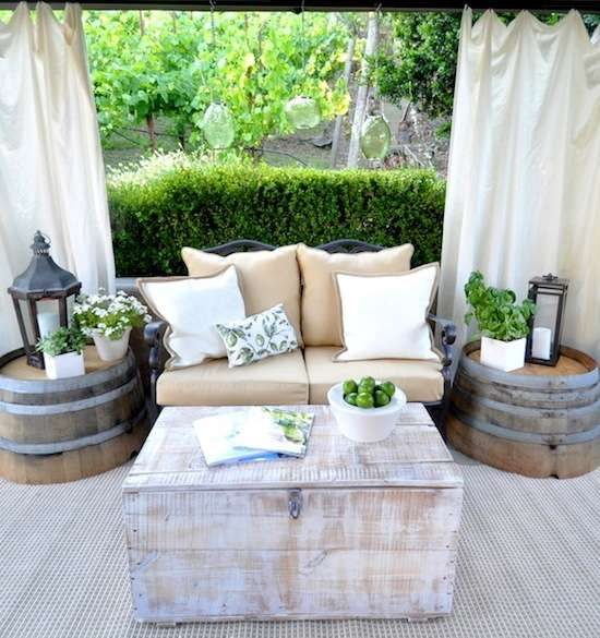 outdoor lounge with #wine barrel side tables