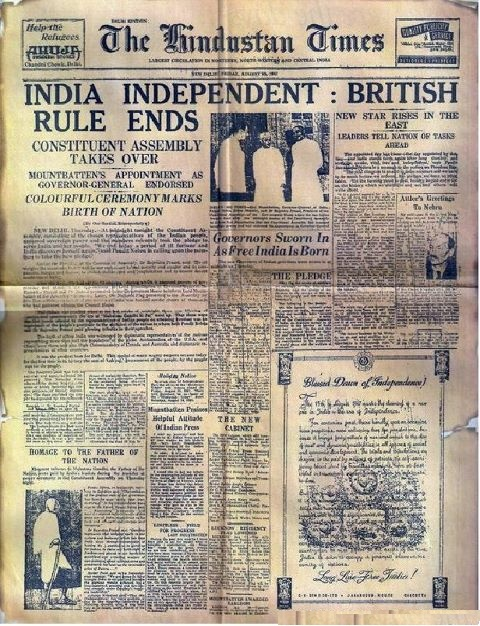 15th August 1947, First News Paper of INDEPENDENT INDIA…