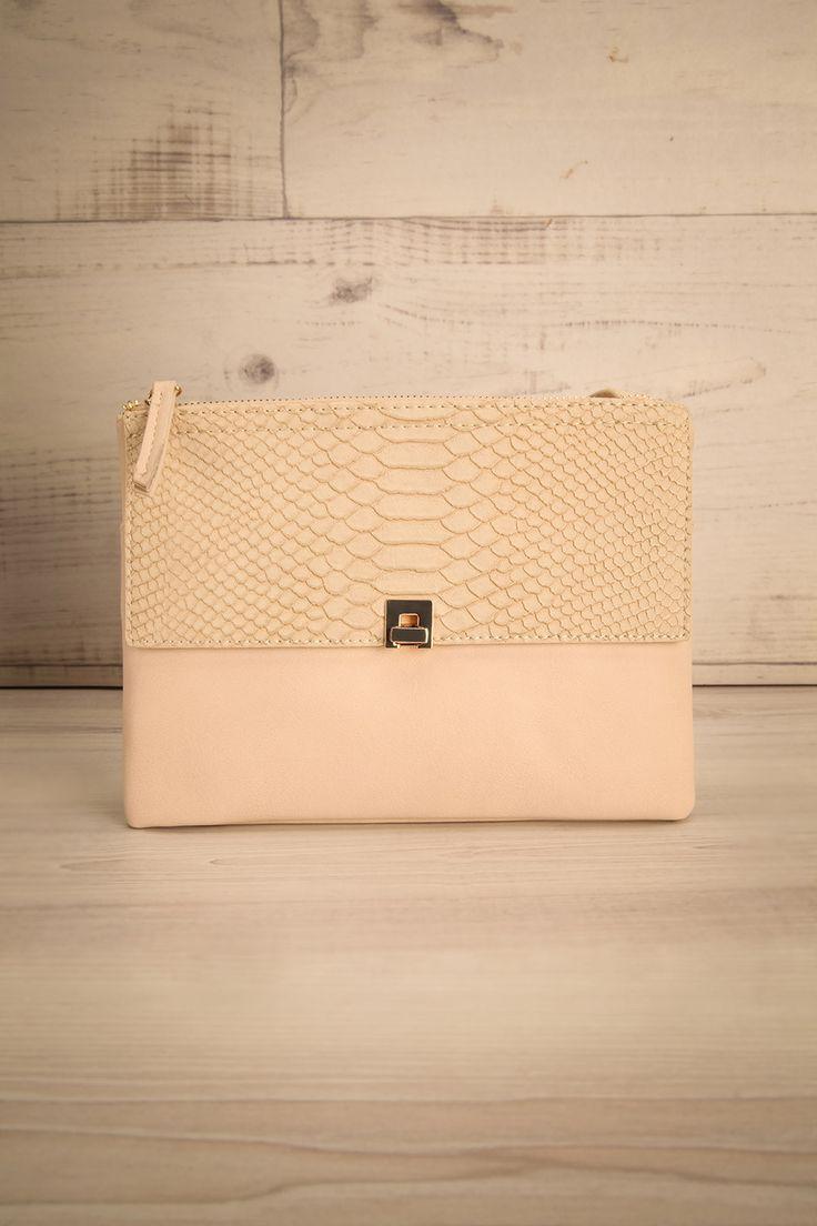 Estaires Pâle - Ivory faux-leather textured clutch bag