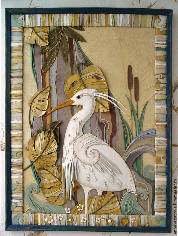 """Купить Картина из кожи """"Утро"""" - разноцветный, картина в подарок, картина для интерьера, картина с птицами"""