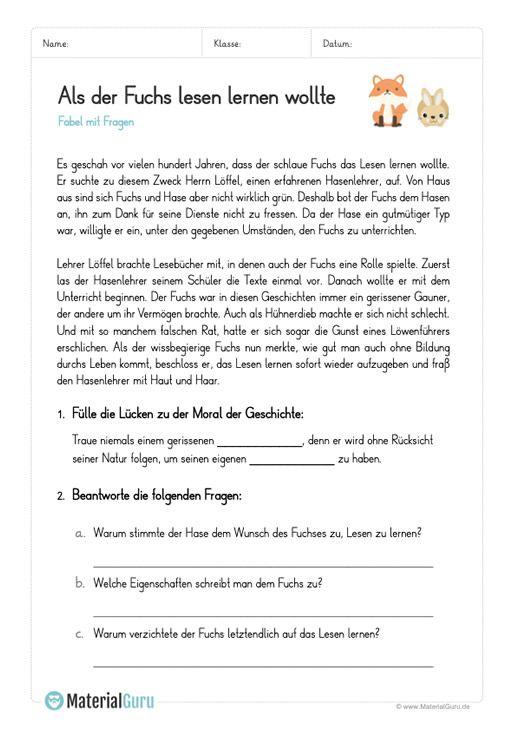 kostenlose arbeitsbl tter und bungen zum thema fabeln f r den deutsch unterricht zum. Black Bedroom Furniture Sets. Home Design Ideas