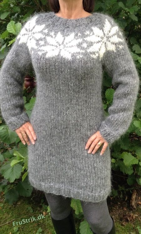 Sarah Lund long sweater - dress with big stars - hand knitted in pure Icelandic wool. Made to order in size: S - M - L and in other colors. For sale from: etsy.com. Trendsales.dk and www.frustrik.dk