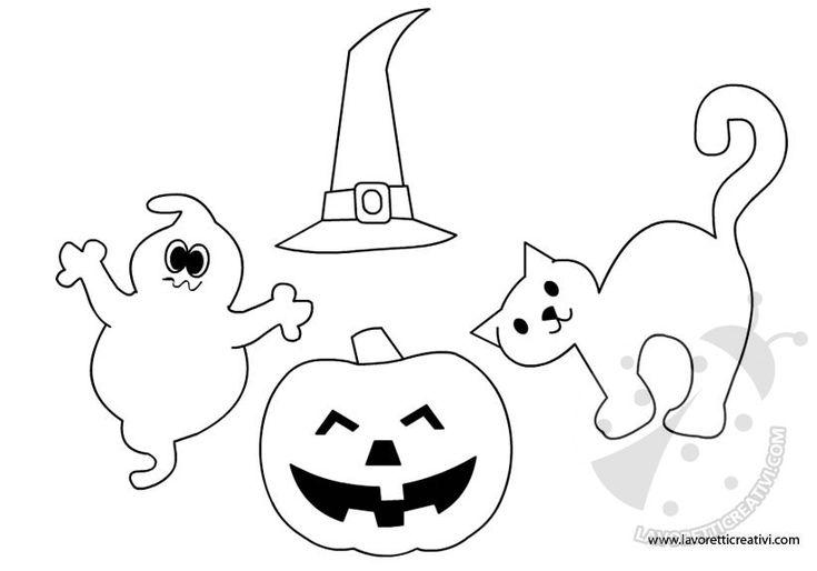 SAGOME DI HALLOWEEN Sagome di Halloween per realizzare con la carta o il feltro biglietti o decorazioni da attaccare alle porte e ai vetri delle finestre.