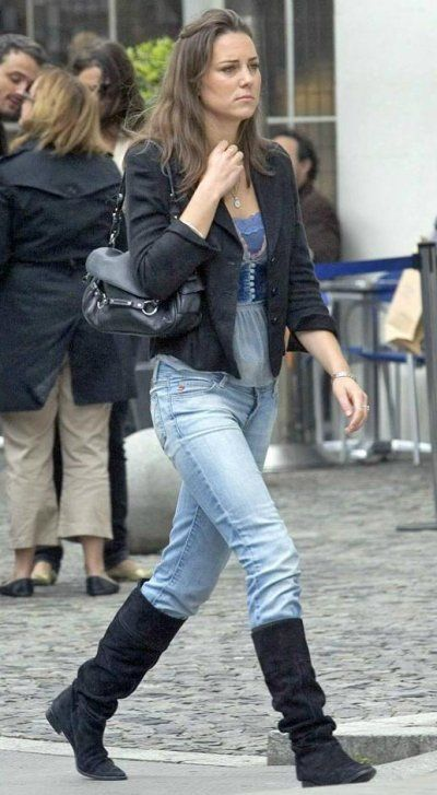 Duchess Catherine in blue top, black jacket, and jeans walking in Chelsea - Kate's street style