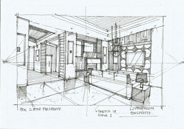 INTERIOR SKETCH LIVING ROOM WITH PEN