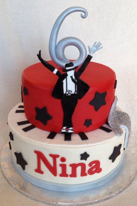 "Michael Jackson cake with all edible fondant accents including ""Michael"", the piano, the glove and the number 6."