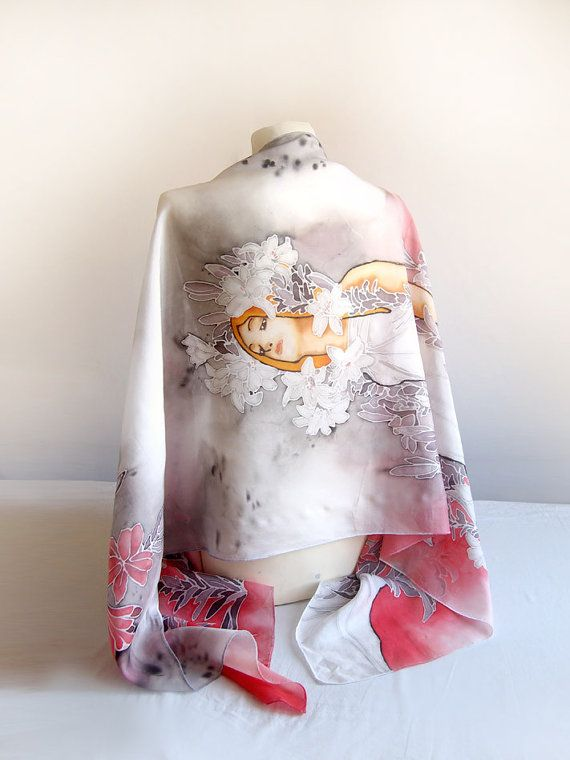 Big silk scarf Mucha Lilies  art nouveau scarf  mucha by MinkuLUL