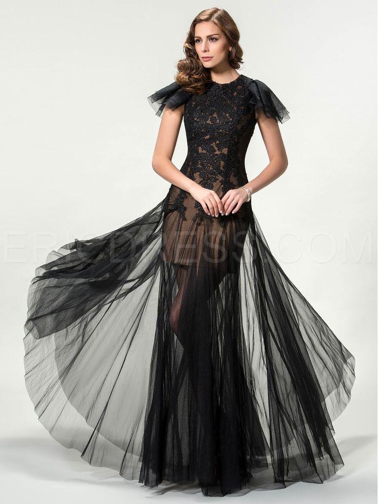 Lace Column Cap Sleeves Floor-Length Evening Dress Evening Dresses 2015- ericdress.com 11291772