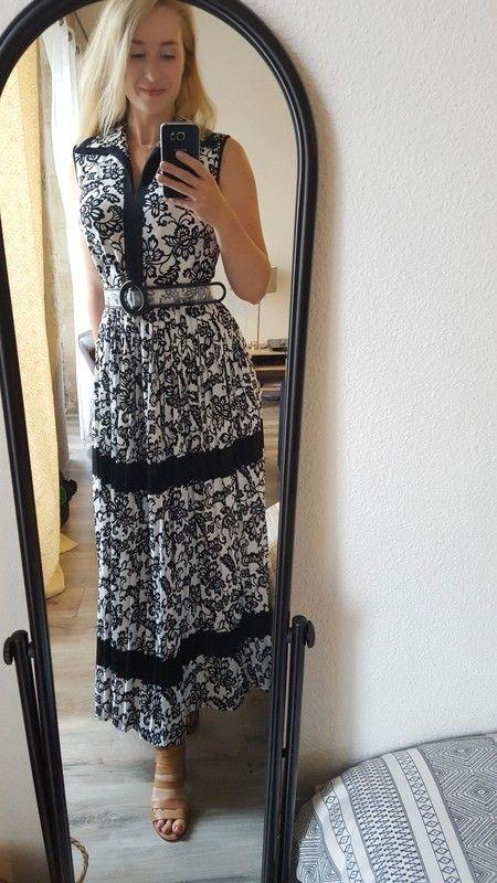 3e23db001c0 Robe longue vintage noire et blanche imprimée - Superbe robe vintage de  marque Verena Modelle