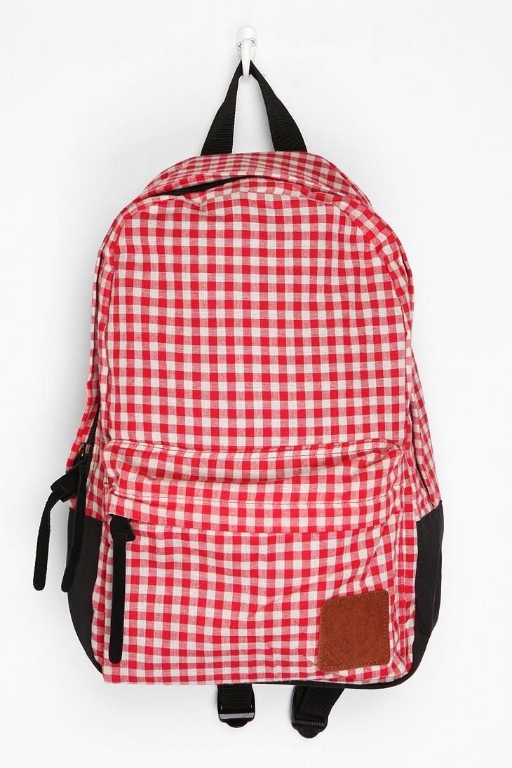 gingham backpack // carrot