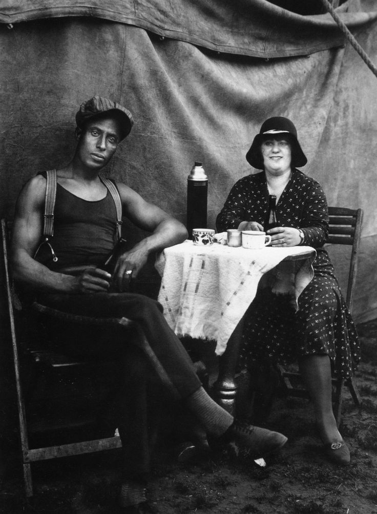 """Fair and Circus People, Circus Workers, Dueren. - August Sander (1930). From the series Circus Workers, 1926-1932. 8 x 10"""" Silver Print Posthumous Print Printed 1990. (This is an enormous version of this image.)"""