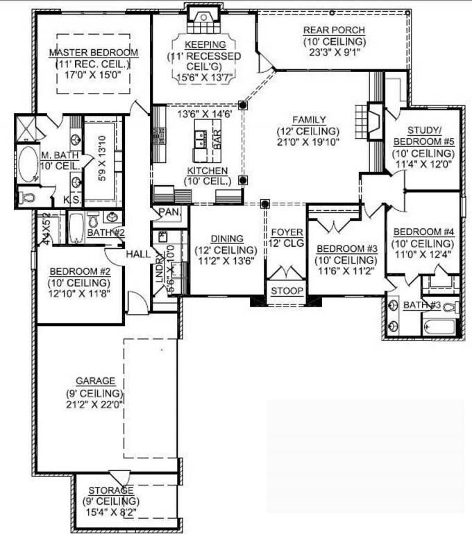 1 story 5 bedroom and 3 bathroom french country house plan the over sized family room has a fireplace and is open to the kitchen and keeping room