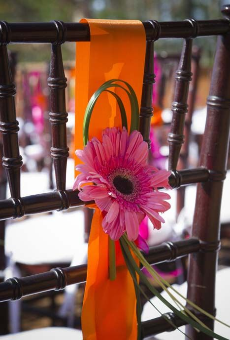 I like the idea. A pink daisy adorns this chair during a Wedding ceremony of an Asheville area Wedding
