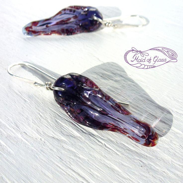 Purple lampwork glass earrings ~ available from my online store ~ www.MaidofGlass.co.uk