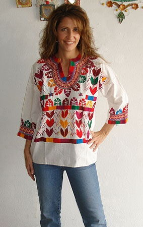 I love ethnic clothing from my mexican heritage. I love the comfort and the colorful patterns of embrodered flowers and designs.