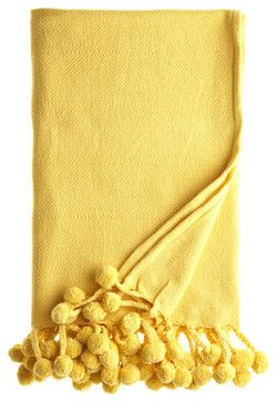 Pom Pom Blanket, Yellow - modern - throws - Calypso St. Barth