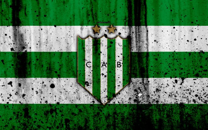Download wallpapers 4k, FC Banfield, grunge, Superliga, soccer, Argentina, logo, Banfield, football club, stone texture, Banfield FC