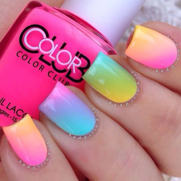 Rainbow is beautiful but it could look better by using shades that are lighter and softer. This goes well on nails if you want a subtle but more feminine approach.