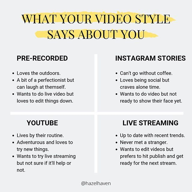 What Your Video Style Says About You Youtube Instagram Stories Pre Recorded And Live Stream Video Marketing Video Content Marketing Instagram Marketing