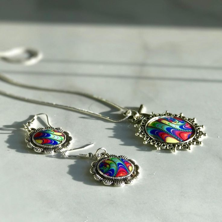 Beautiful matching necklace and earring set hand printed from Vivid Sister