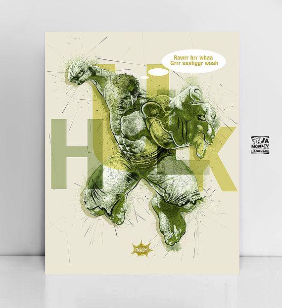Hulk, Hulk poster, Superhero poster, by  janovellty