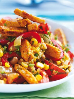 Vegetarian. Quorn mexican stir fry. Serve with tortillas for fajita-style! {Hold the onion!}