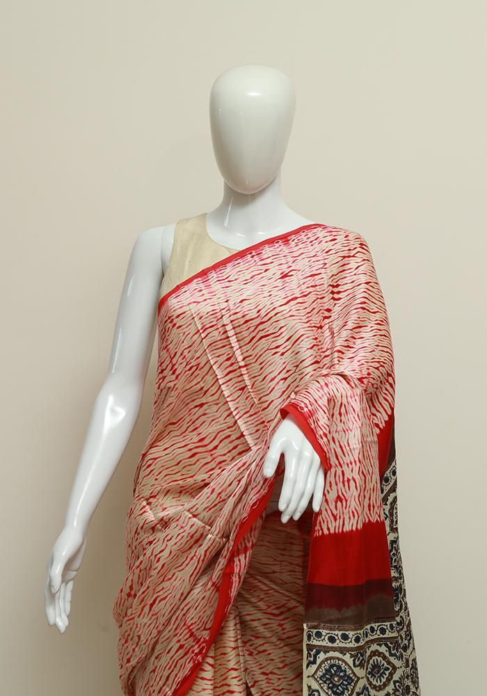 afd6d2868c19f7 Shibori Modal Silk Saree with Ajrakh – Desically Ethnic | Sarees in ...