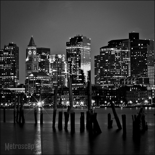 Black and White picture of the Boston Skyline at Night.