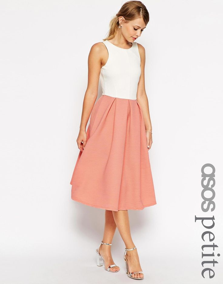 ASOS PETITE Midi Dress with Low V Back in Contrast Fabric
